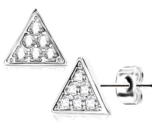 Mini silver & crystal triangle studs