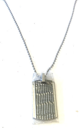 Resin treated dog tag & necklace