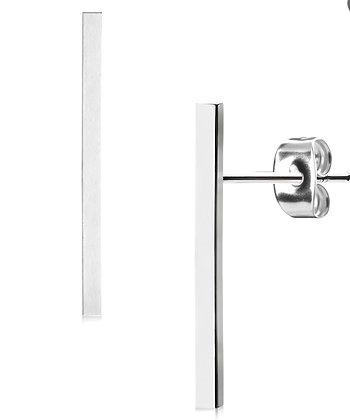 Thin silver bar studs