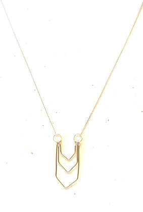Silver open geo shaped necklace