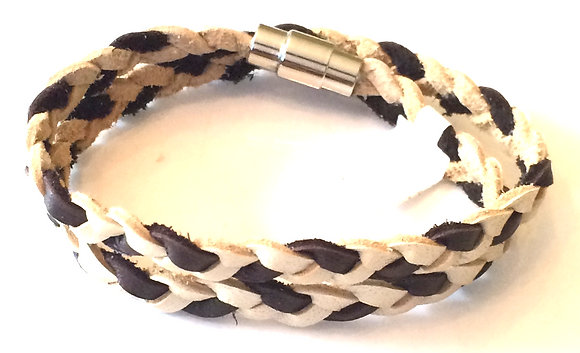 Brown & cream braided leather wrap