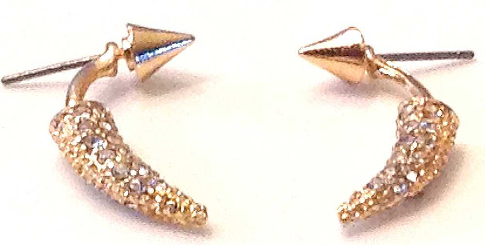 Ear jacket in gold with crystal studs
