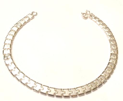 Geo link silver bracelets