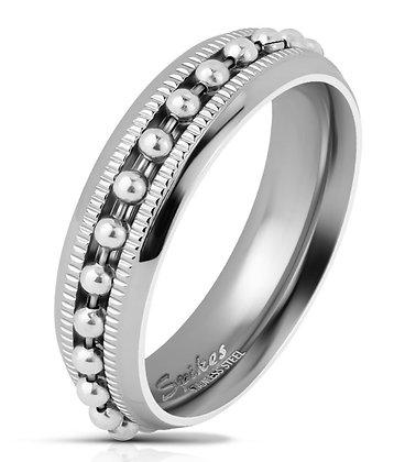 Beaded chain center ring