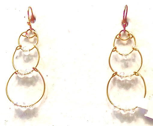 Triple gold drop earrings