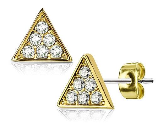 Mini gold & crystal triangle studs