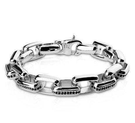 Silver & Black CZ link bracelet