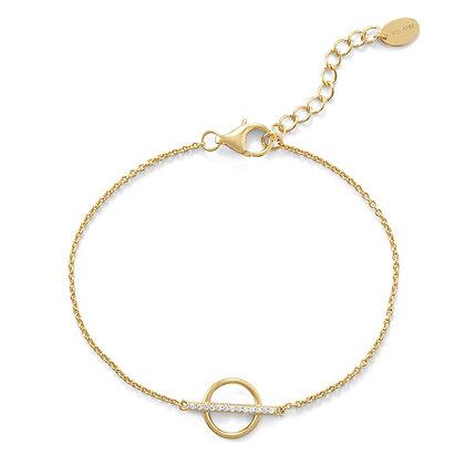 Circle & bar gold bracelet