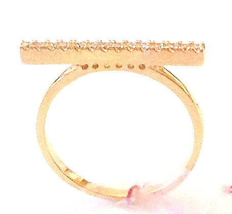 CZ gold bar ring