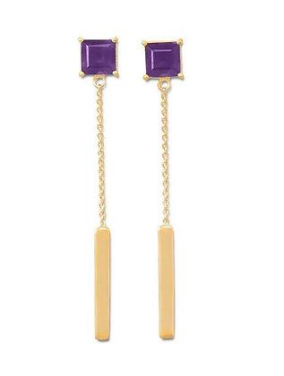 Amethyst & gold drop earring