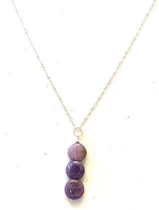 Agates stones pendant & silver necklace