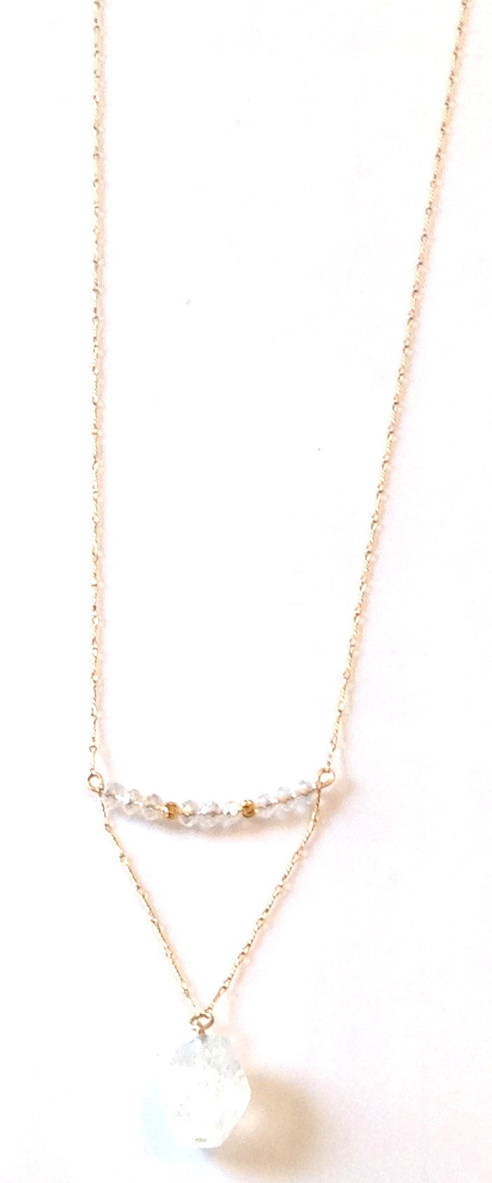 crystal pendant & gold necklace