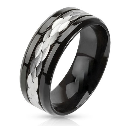 Silver center black ring