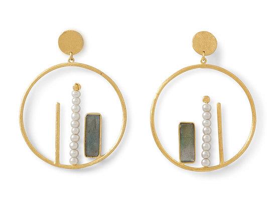 Gold/Pearl & Labradorite hoops