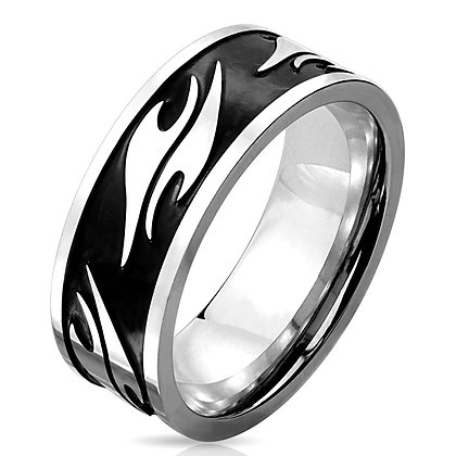 Abstract inlay black plated ring