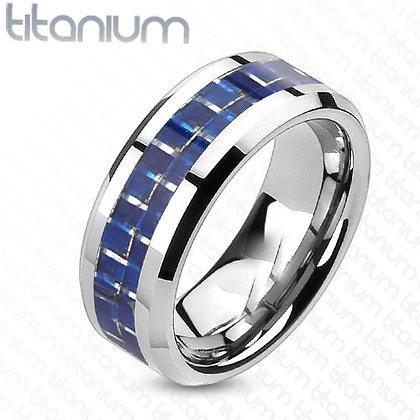 Blue carbon inlay titanium ring