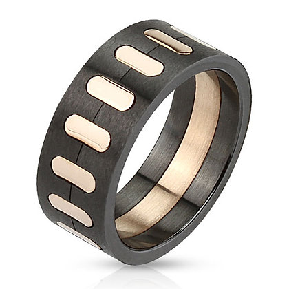 Black & rose gold inlay ring