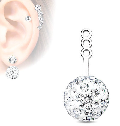 Crystal studded ear jacket
