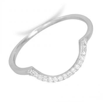 U CZ studded silver ring