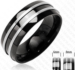 Black ring with silver circles