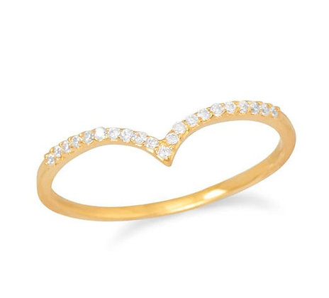 Thin gold v ring