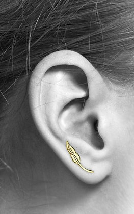 Gold feather ear climbers