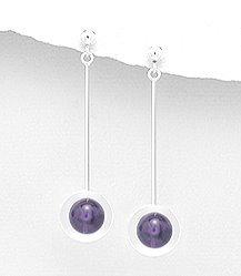 Amethyst Ball drop earrings