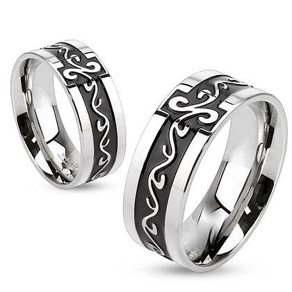 Swirls inlay silver ring