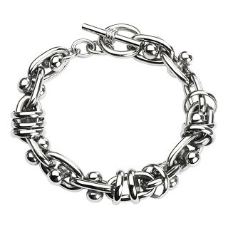 Barbell & chain links bracelet