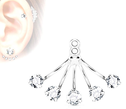 Five CZ ear jacket