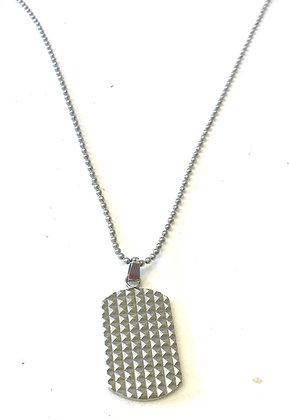 Textured dog tag & necklace