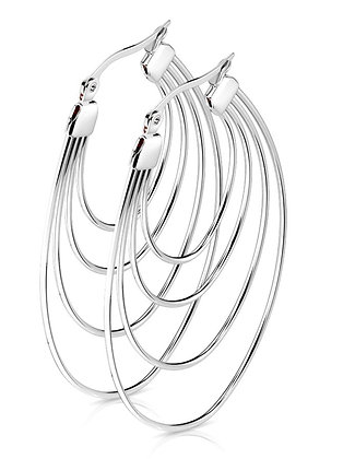 Four circles silver hoops