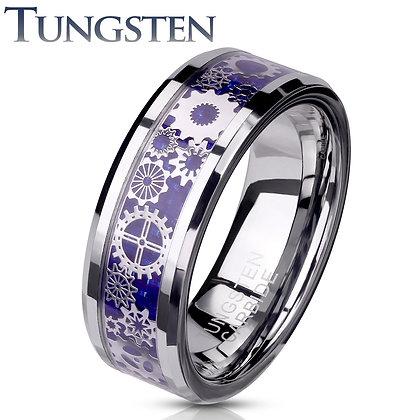 Tungsten Blue Carbon Fiber ring