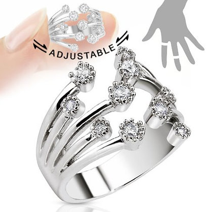 Multi jewels adjustable ring
