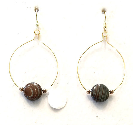 Gold hoops with jasper stones