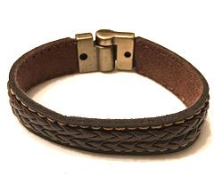 Brown leather braided center bracelet