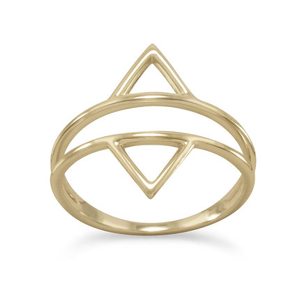 Gold double triangle ring