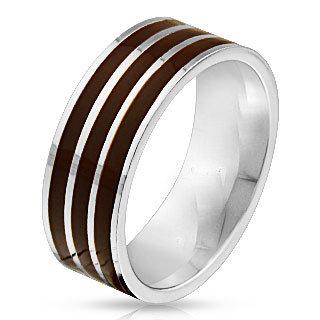 Triple brown line ring