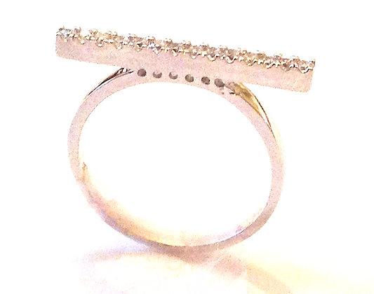 CZ silver bar ring
