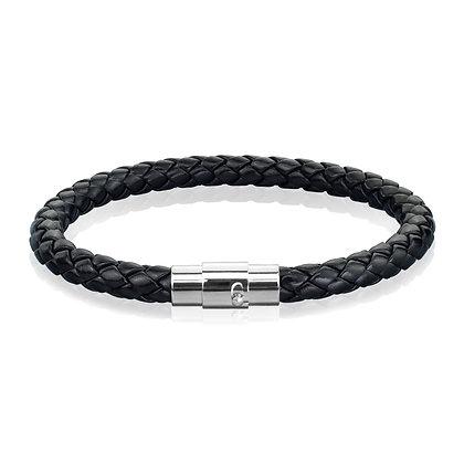 Black braided leather wrist band