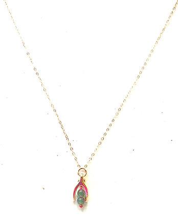 Gold wishbone pendant & necklace
