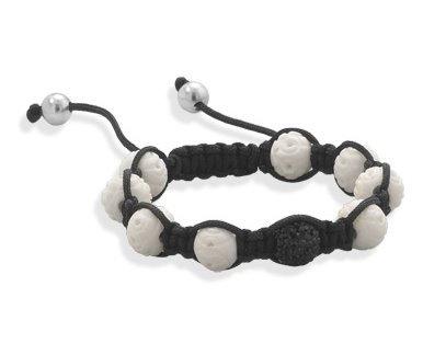 Crystal & carved bone bracelet