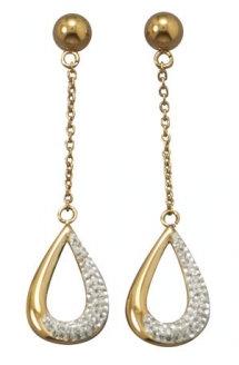 Gold & crystal drop earrings