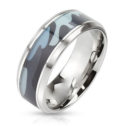 Blue camouflage ring