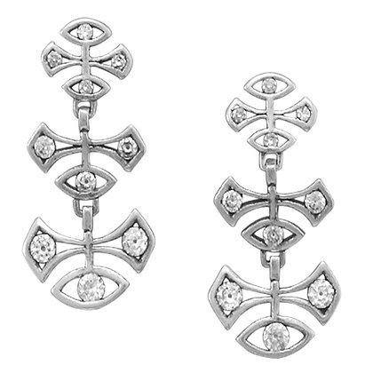 Geometric design drop earrings