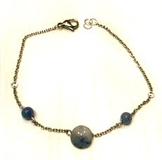 Blue aventurine & silver anklet