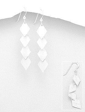 Diamond drop silver earrings