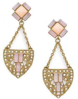 Gold & pink art deco earrings