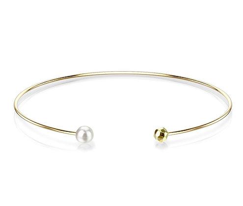 Thin gold & pearl cuff