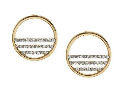 Gold circle & crystal studs